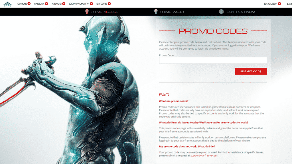 the warframe promo codes redemption page