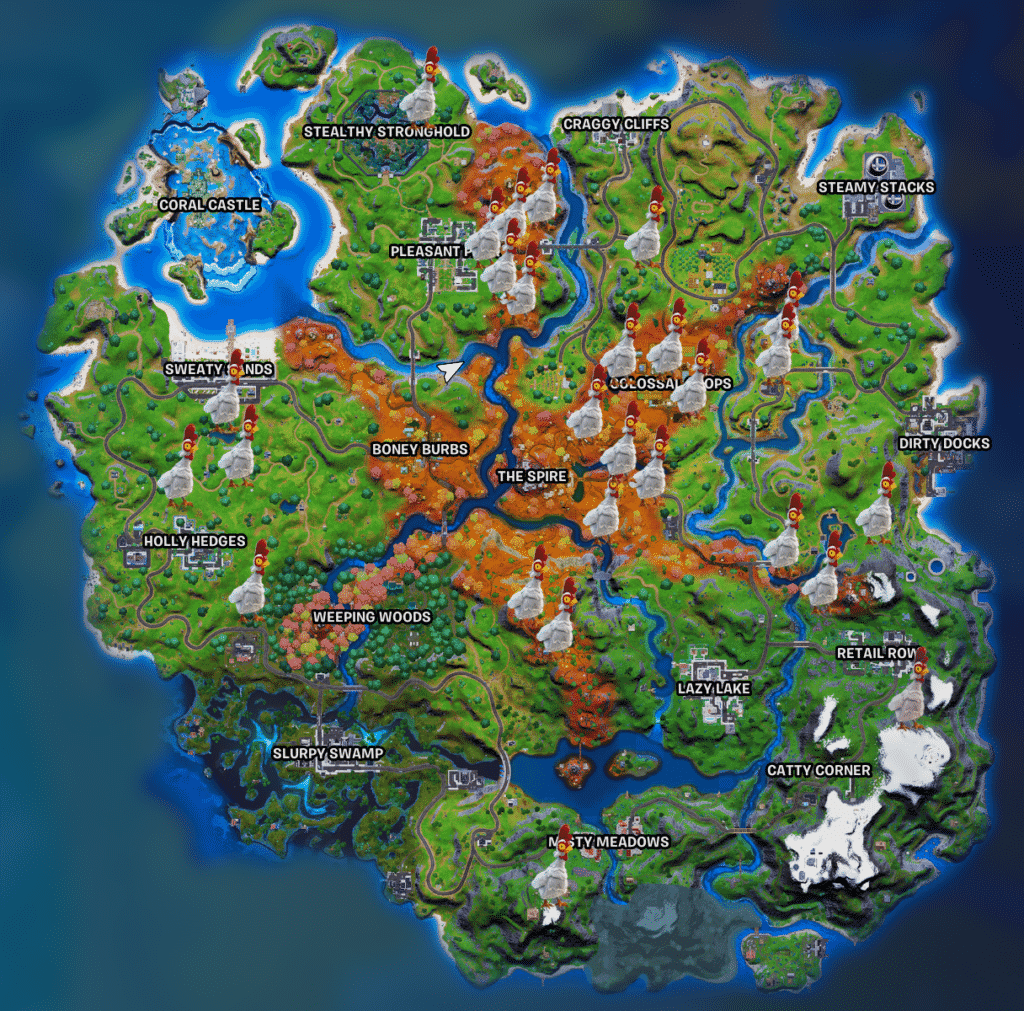 Fortnite chicken locations map