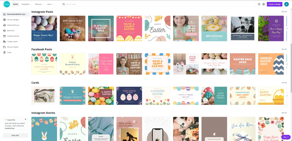 Canva design template recommendation page