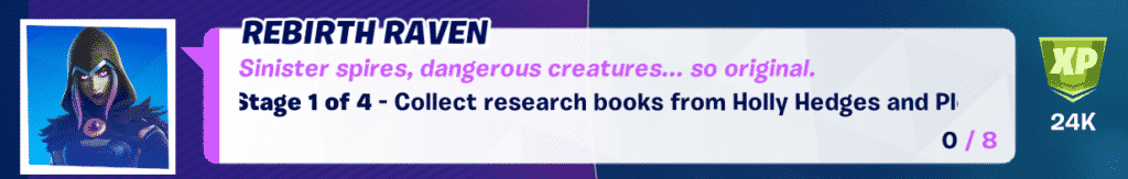 rebirth raven week 7 challenge collect research books from holly hedges and pleasant park