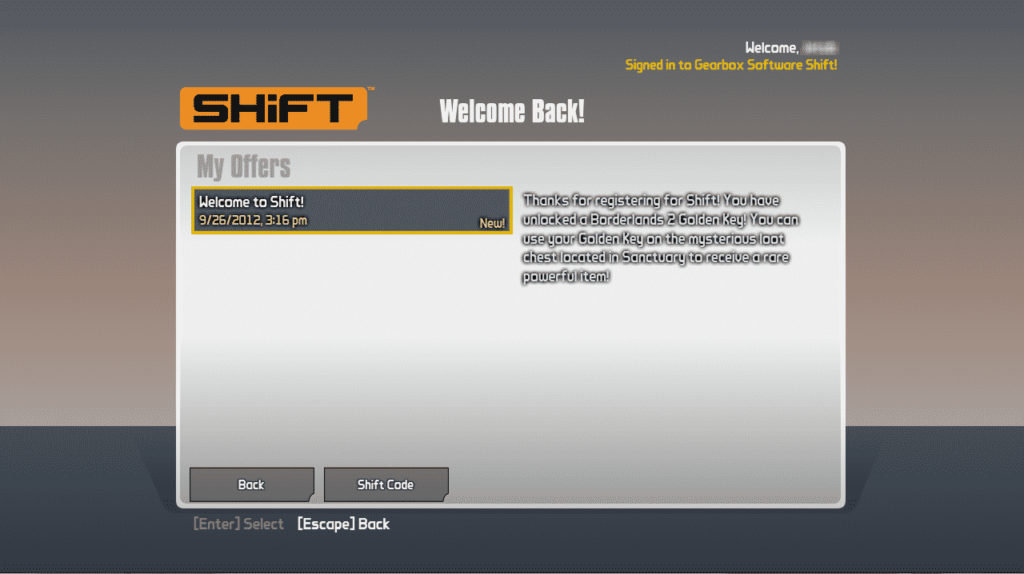 My offers screen select shift code