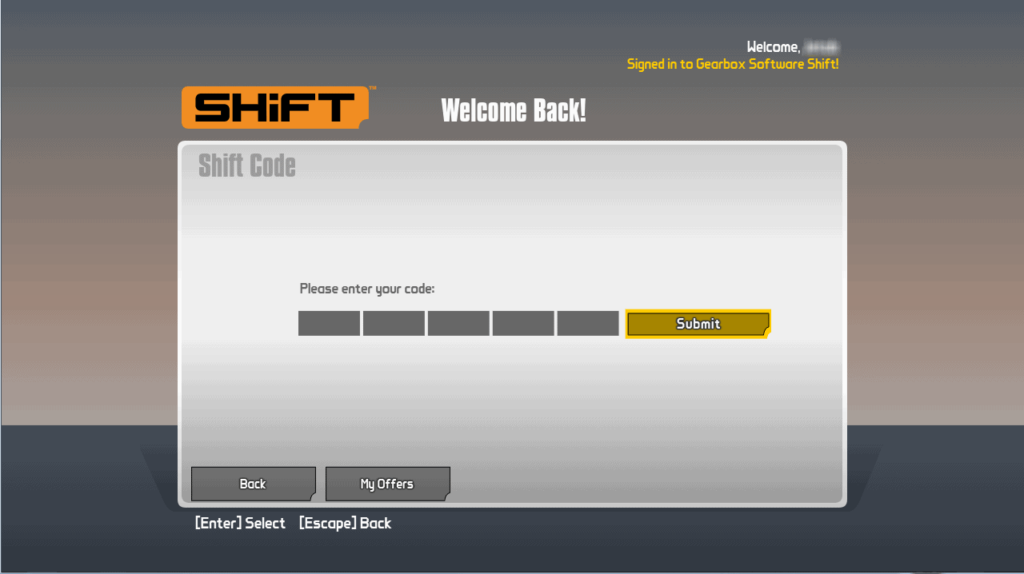 enter shift code and click submit