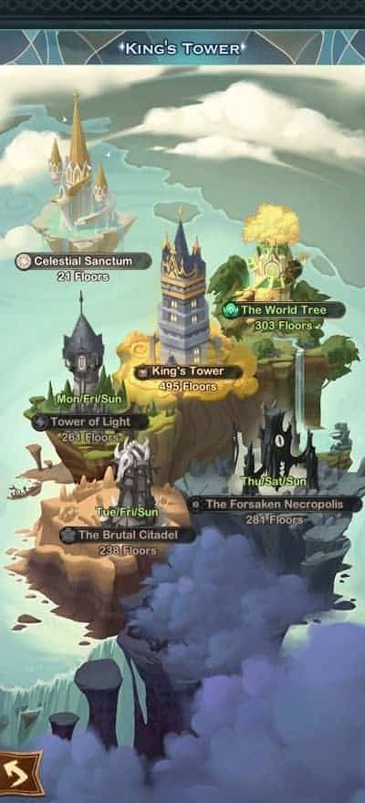 AFK Arena King's Tower and Faction Towers new interface