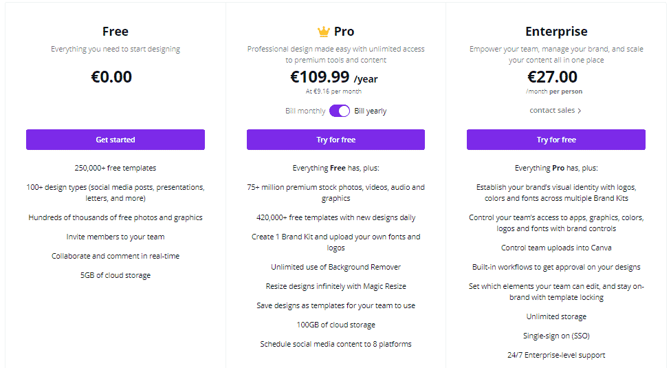 canva plans and pricing