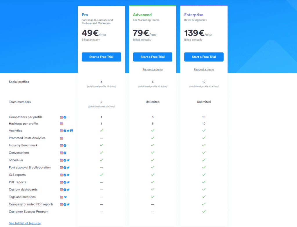 iconosquare pricing & plans