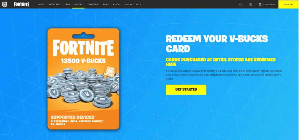 how to redeem Fortnite v-bucks card codes