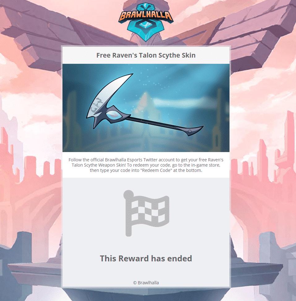 Redeem Twitter code raven's talon scythe skin