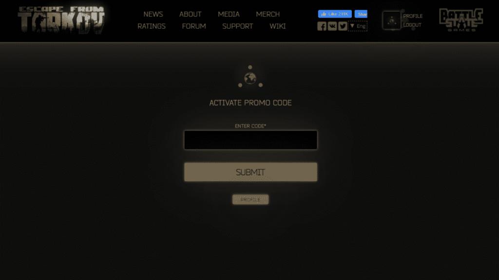 escape from tarkov enter promo code and click submit