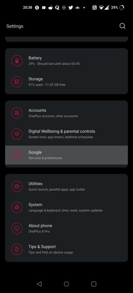 phone settings google account