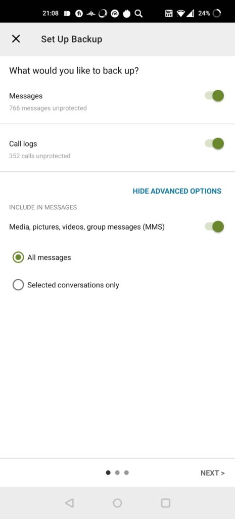 SMS Backup & Restore back up settings messages, call logs, media, mms