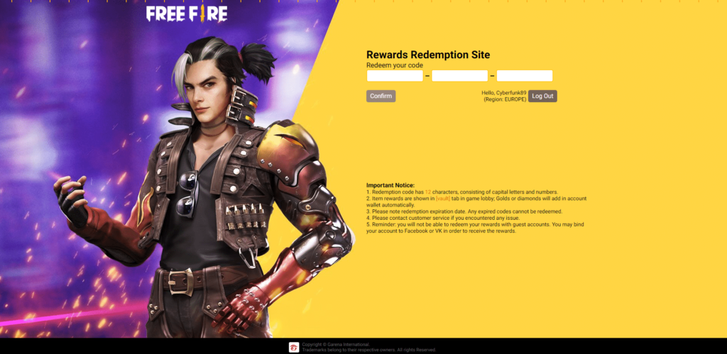 how to redeem Garena Free Fire codes official website