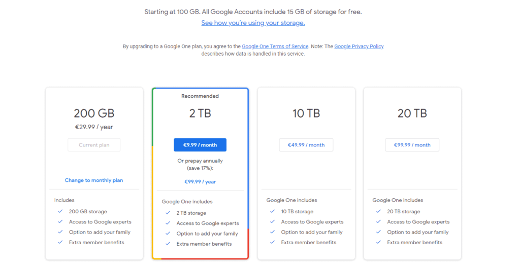 Google One plans and pricing