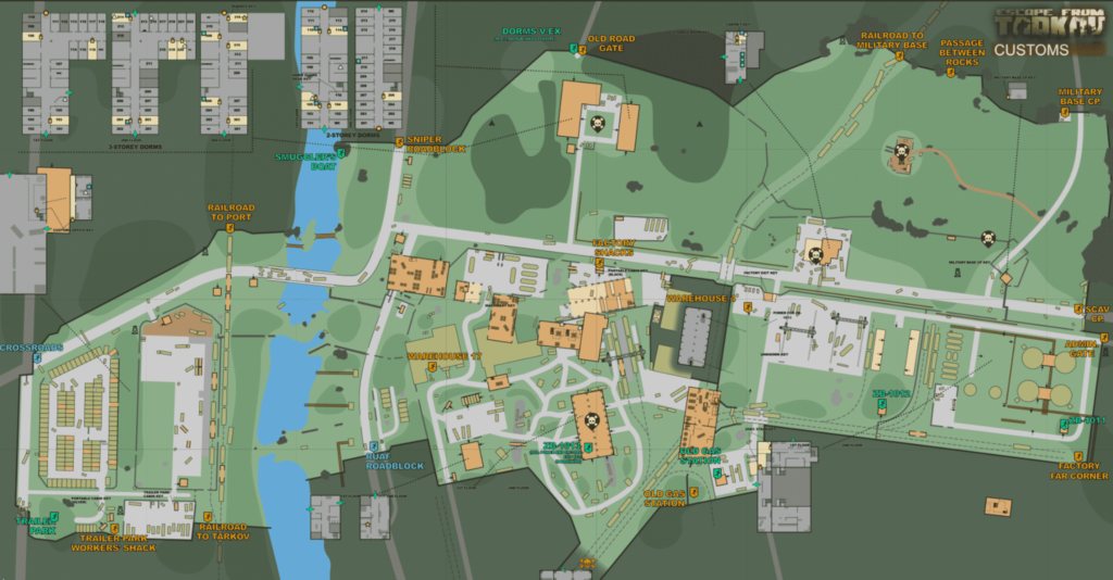 escape from tarkov customs map north east side west side