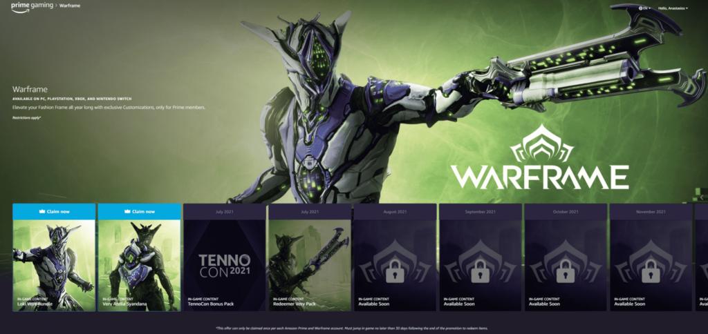 amazon prime gaming free loot promo warframe