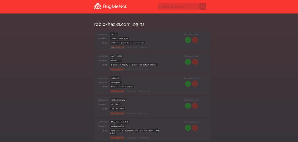 Roblox Password Finder BugMeNot