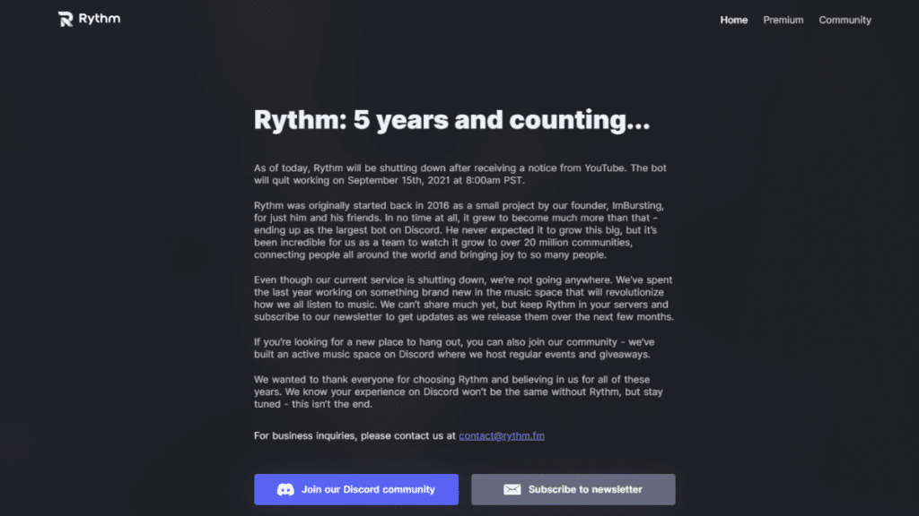 Rythm Bot Shuts down its service on Discord