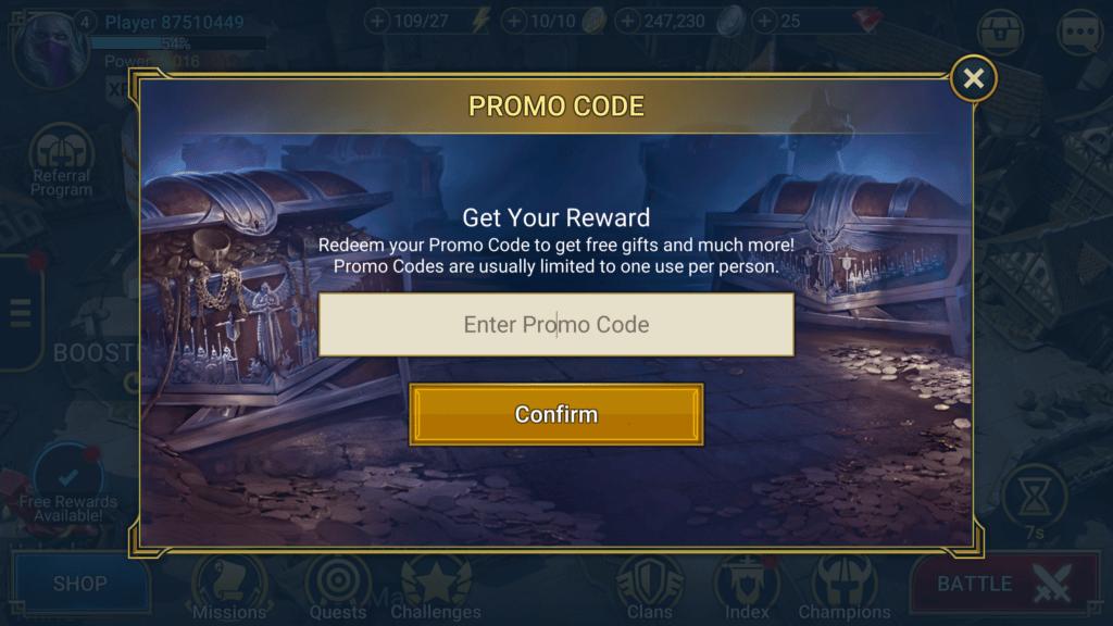 redeem promo code window raid shadow legends