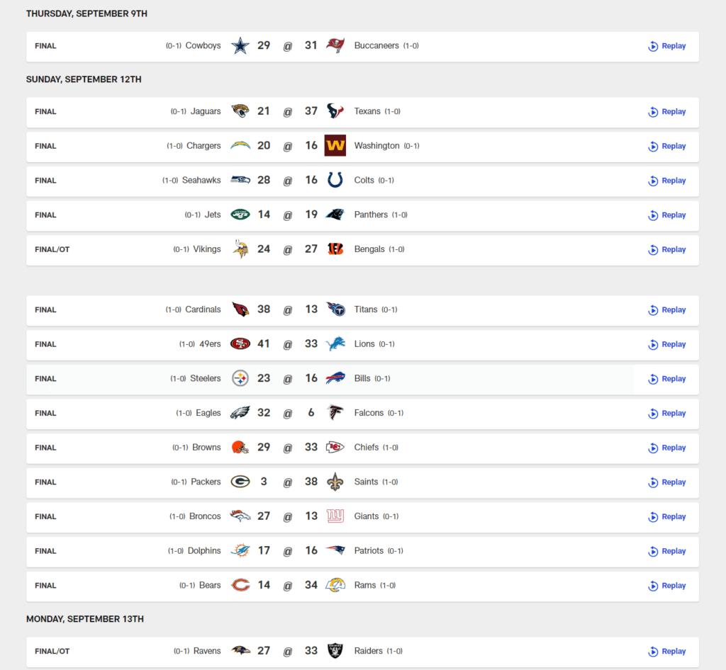 NFL 2021 season week 1 scores